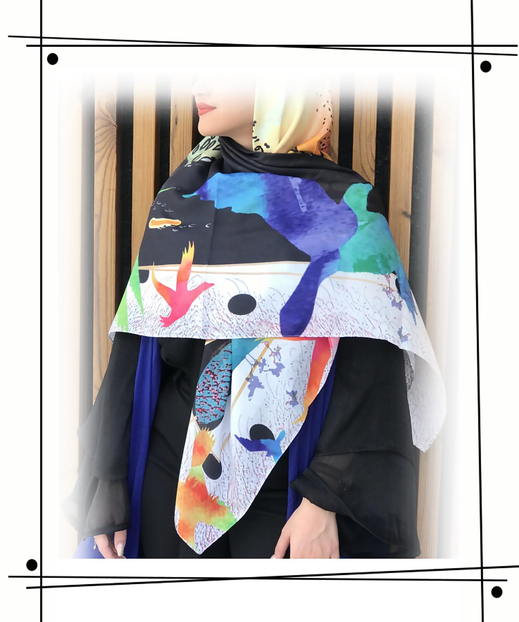 روسری زیبا با طراحی خاص و شعری زیبا